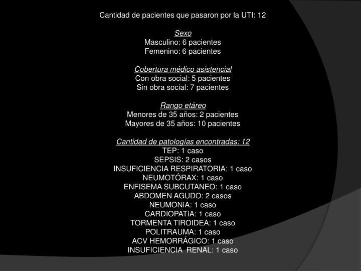 Cantidad de pacientes que pasaron por la UTI: 12