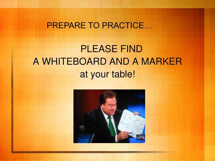 PREPARE TO PRACTICE…