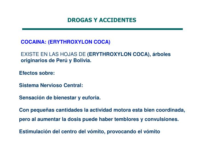 DROGAS Y ACCIDENTES