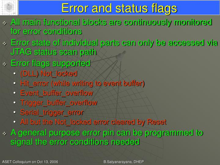 Error and status flags
