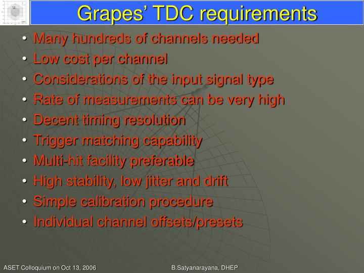 Grapes' TDC requirements