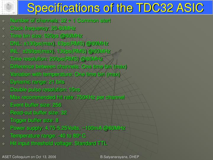 Specifications of the TDC32 ASIC