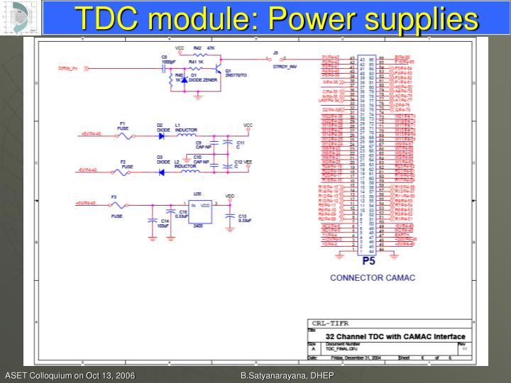 TDC module: Power supplies