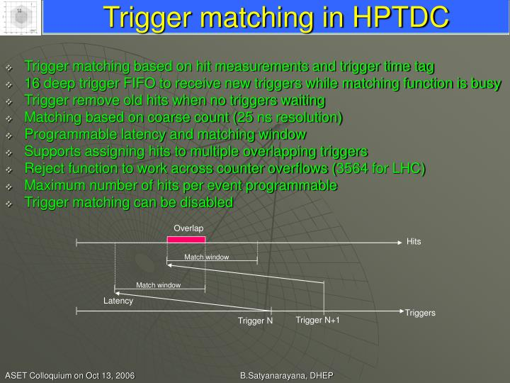 Trigger matching in HPTDC