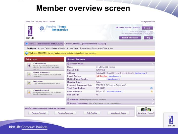 Member overview screen