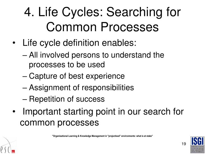4. Life Cycles: Searching for Common Processes