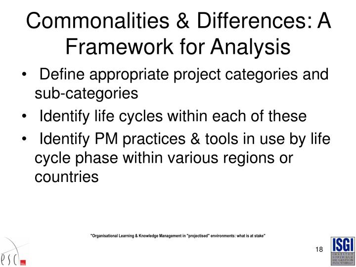Commonalities & Differences: A Framework for Analysis