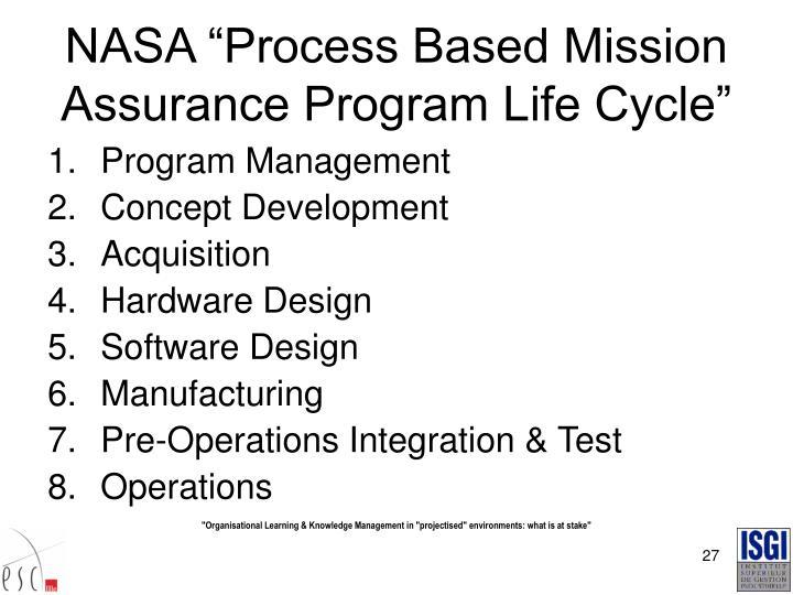 "NASA ""Process Based Mission Assurance Program Life Cycle"""