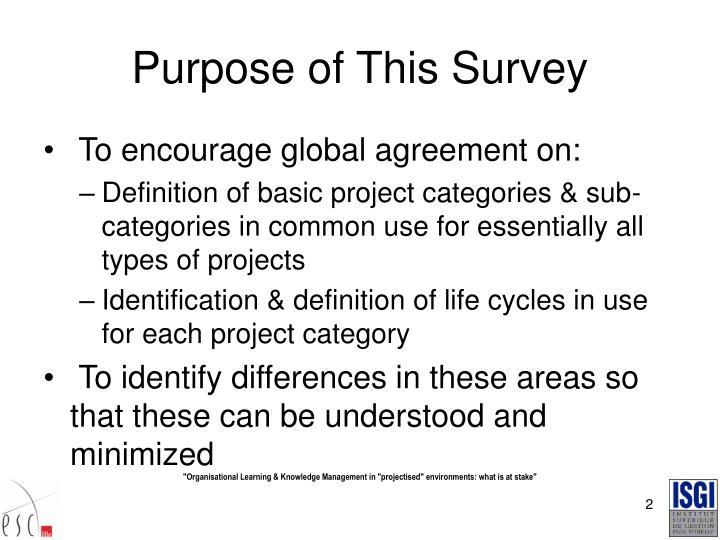 Purpose of This Survey