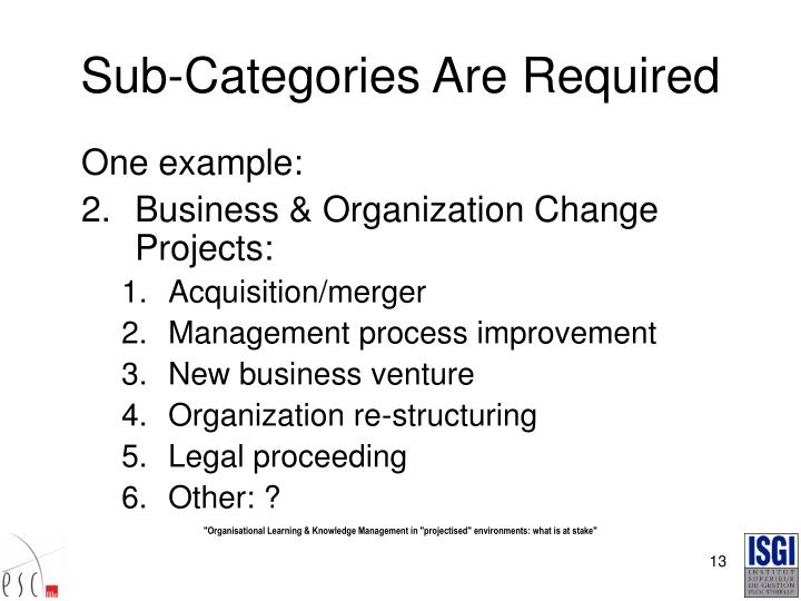 Sub-Categories Are Required