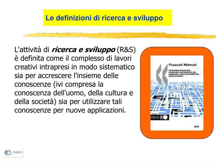 Le definizioni di ricerca e sviluppo