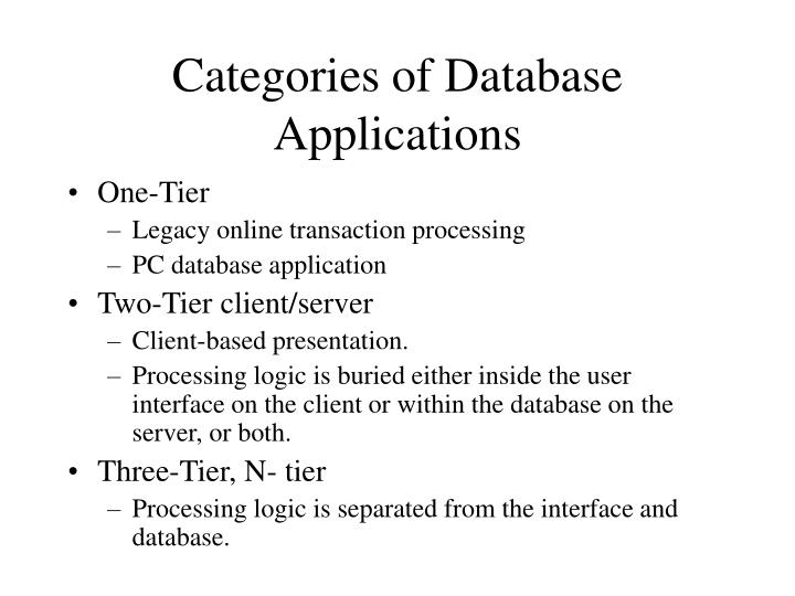 Categories of Database Applications