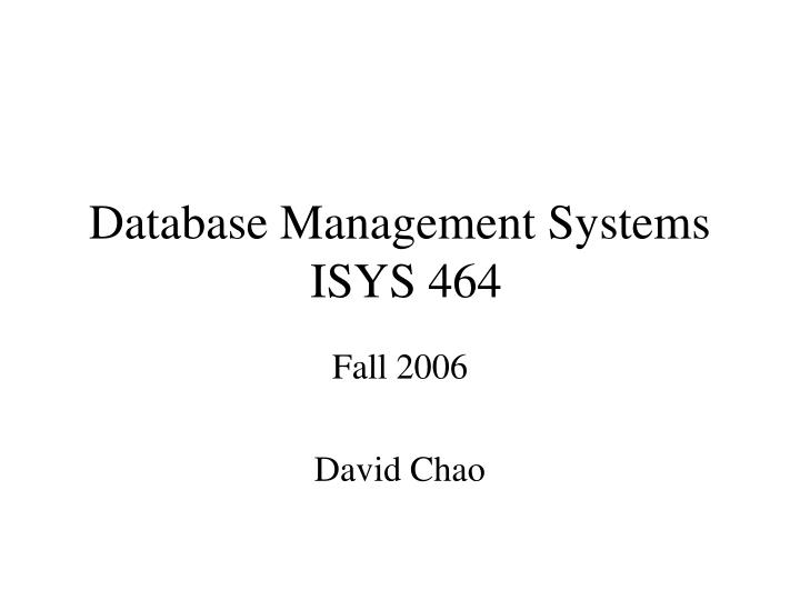 Database management systems isys 464