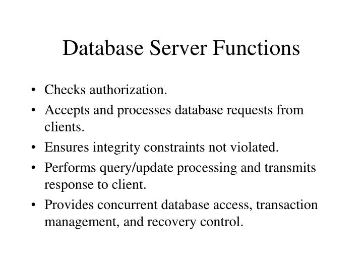 Database Server Functions