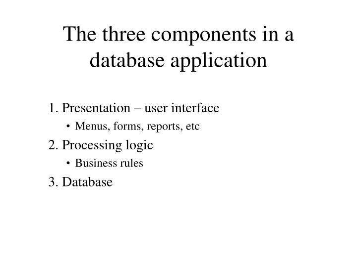 The three components in a database application