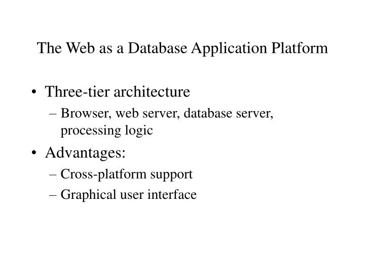 The Web as a Database Application Platform