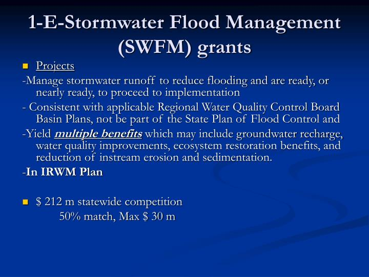 1-E-Stormwater Flood Management (SWFM) grants