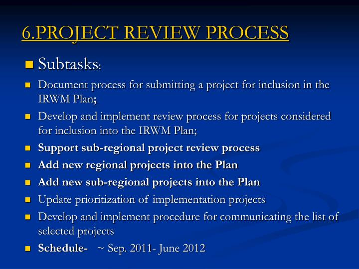 6.PROJECT REVIEW PROCESS