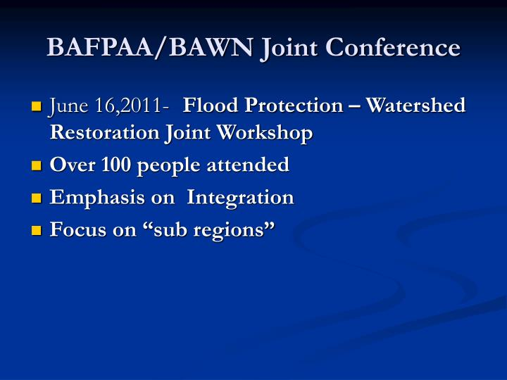 BAFPAA/BAWN Joint Conference