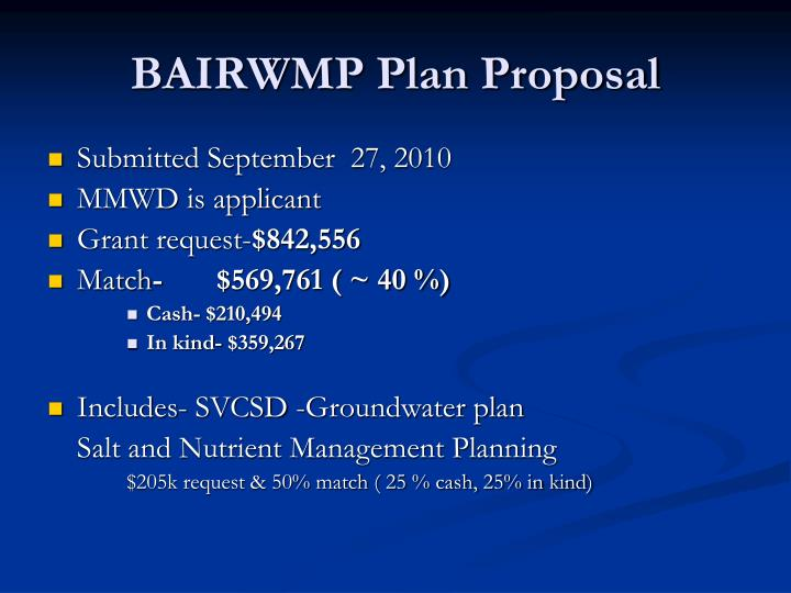 BAIRWMP Plan Proposal