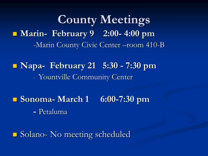 County Meetings