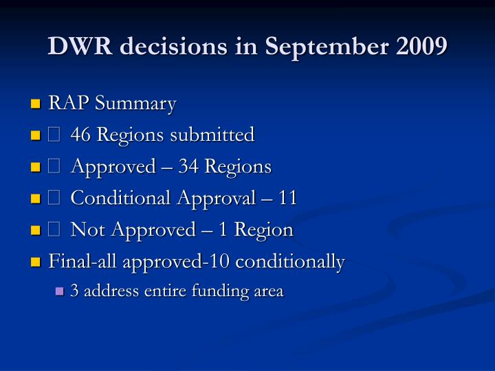 DWR decisions in September 2009
