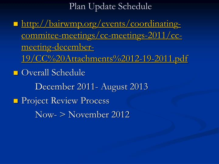 Plan Update Schedule