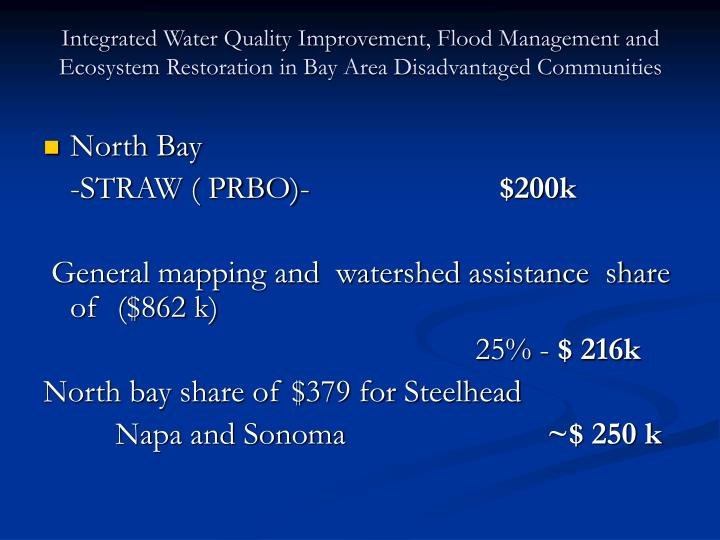 Integrated Water Quality Improvement, Flood Management and Ecosystem Restoration in Bay Area Disadvantaged Communities