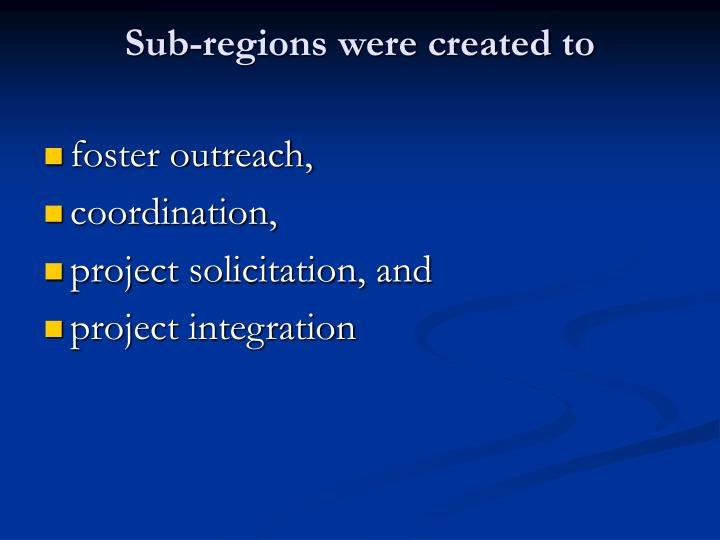 Sub-regions were created to