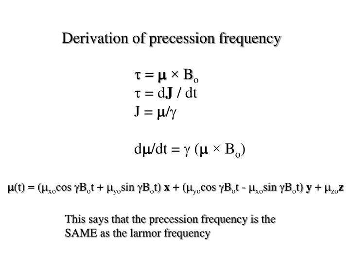Derivation of precession frequency