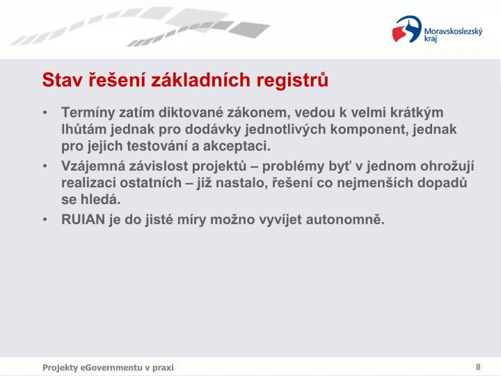 Stav řešení základních registrů