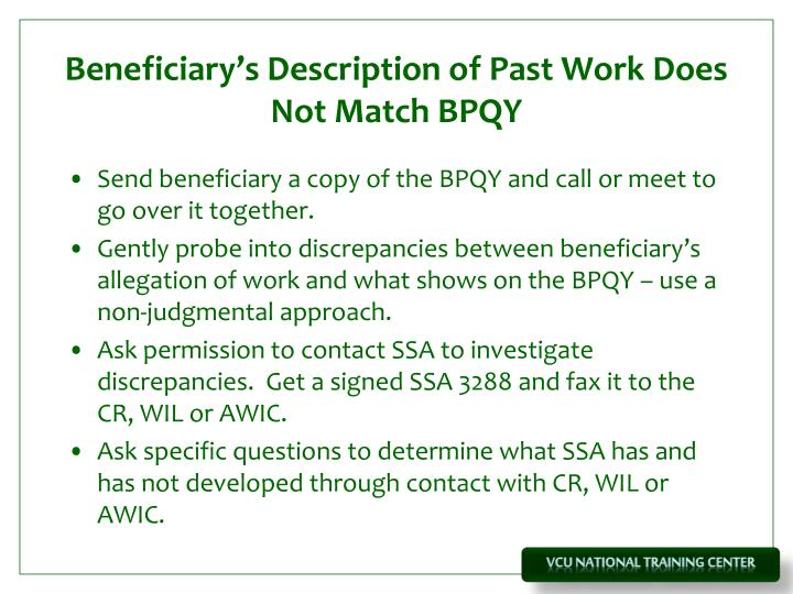 Beneficiary's Description of Past Work Does Not Match BPQY