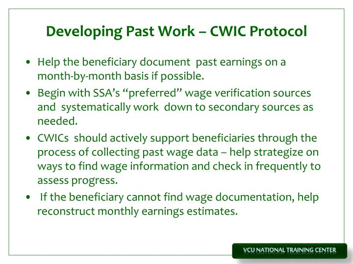 Developing Past Work – CWIC Protocol