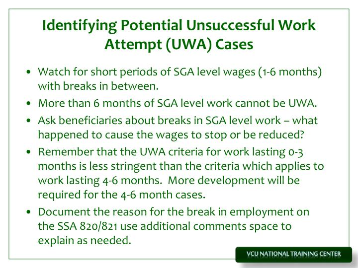 Identifying Potential Unsuccessful Work Attempt (UWA) Cases