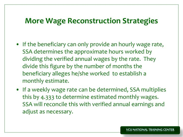 More Wage Reconstruction Strategies