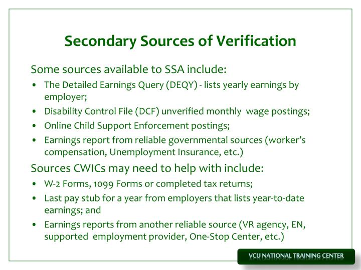 Secondary Sources of Verification