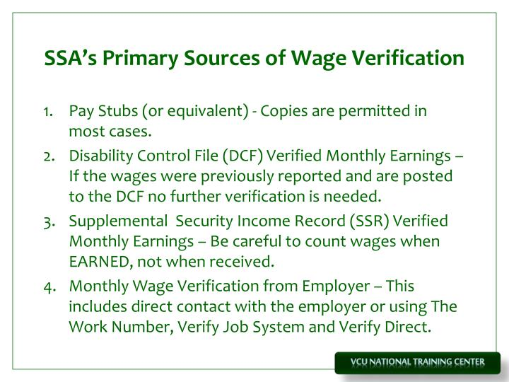 SSA's Primary Sources of Wage Verification