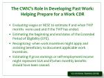 the cwic s role in developing past work helping prepare for a work cdr