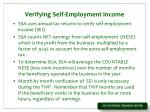 verifying self employment income