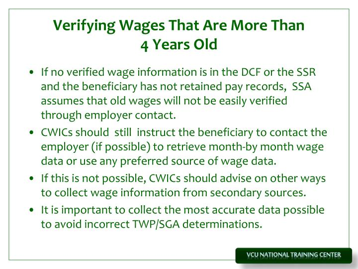Verifying Wages That Are More Than
