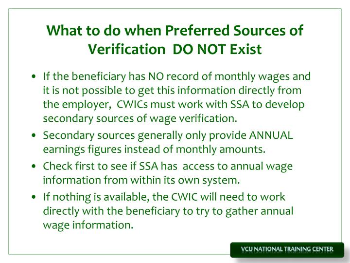 What to do when Preferred Sources of Verification  DO NOT Exist