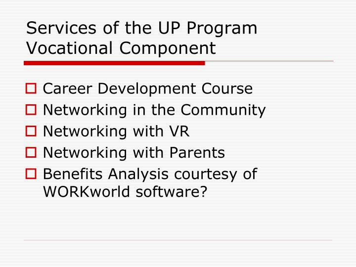 Services of the UP Program Vocational Component