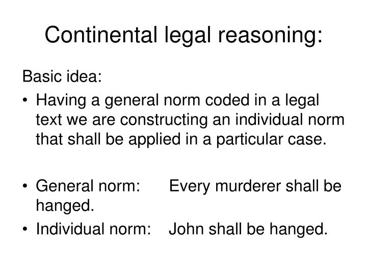 Continental legal reasoning