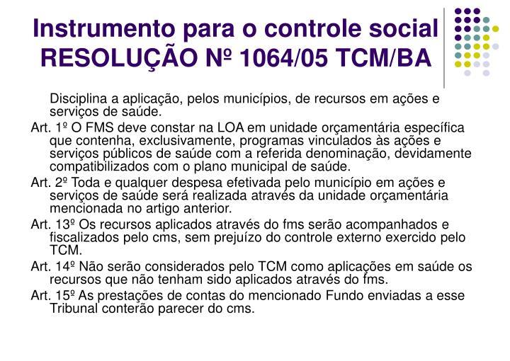 Instrumento para o controle social