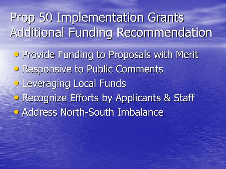 Prop 50 Implementation Grants