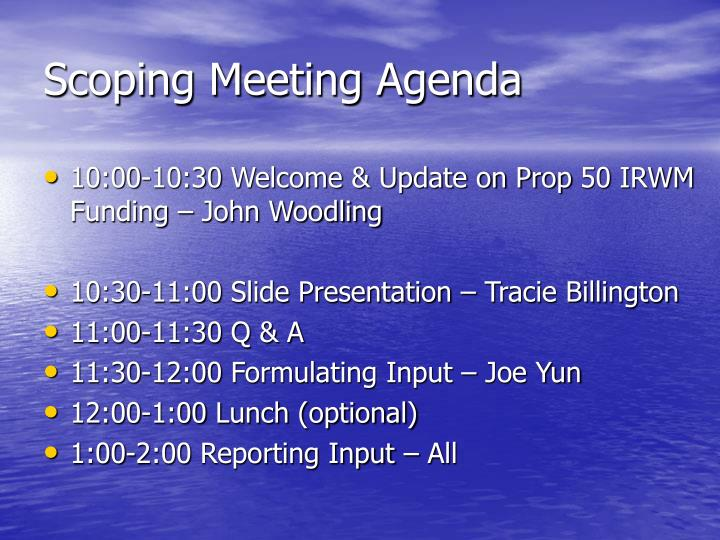 Scoping Meeting Agenda