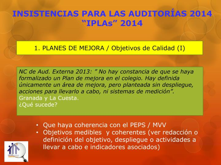 Insistencias para las auditor as 2014 iplas 2014