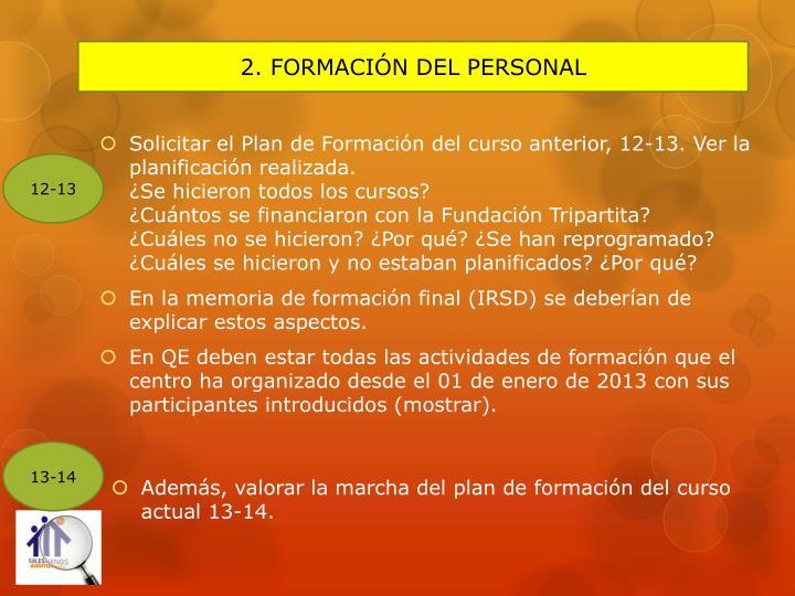 2. FORMACIÓN DEL PERSONAL