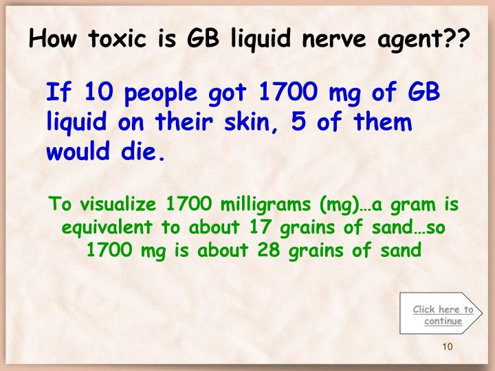 How toxic is GB liquid nerve agent??