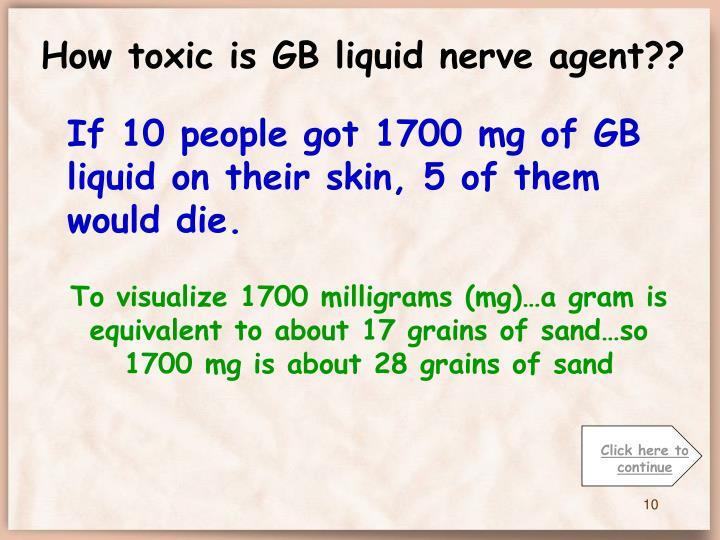 How toxic is GB liquid nerve agent??